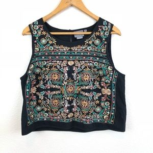 Anthro:Vanessa Virginia Midi Embroidered Crop Top